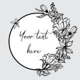 Cadre rond avec les fleurs peintes Photos libres de droits