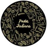 Cadre rond avec les macaronis italiens de diff?rentes sortes aspiration colorée jaune-clair de main sur le fond noir illustration stock