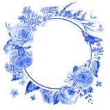 Cadre rond bleu de roses et de lilas d'aquarelle Images libres de droits