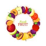 Cadre rond composé de fruit de prune de pomme Delicious Illustration de carte de vecteur Cadre de cercle de pommes et de prunes a illustration stock