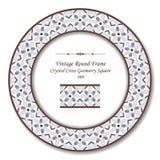Cadre rond 369 Crystal Cross Geometry Square de vintage rétro illustration de vecteur