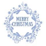 Cadre rond de beau Noël fait de branches Photo stock