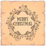 Cadre rond de beau Noël fait de branches Image libre de droits