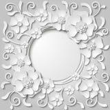 Cadre rond de beau vintage avec des fleurs coupées du livre blanc 3d Photographie stock libre de droits