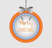 Cadre rond de connexion de Joyeux Noël avec l'arc argenté Élément de calligraphie Couleurs modernes Photo libre de droits