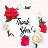 Cadre rond de cru avec les roses de floraison Merci avec l'endroit de votre texte Illustration de vecteur Carte romantique illustration de vecteur