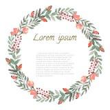 Cadre rond de feuille, de baies et de fleurs d'aquarelle illustration stock