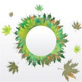 Cadre rond de feuilles d'automne à vendre l'insecte et le baner illustration de vecteur