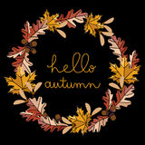 Cadre rond de feuilles d'automne de vecteur Photo stock