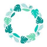 Cadre rond de feuilles tropicales vert clair Illustration plate de Monstera illustration de vecteur