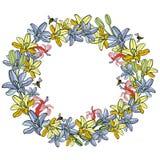 Cadre rond de fleur tirée par la main d'été illustration stock