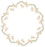 Cadre rond de gradient avec les silhouettes abstraites de fleurs Image libre de droits