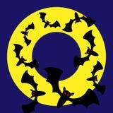 Cadre rond de Halloween de vecteur avec des battes Image libre de droits
