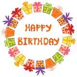 Cadre rond de joyeux anniversaire avec des boîte-cadeau illustration libre de droits