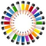 Cadre rond de photo de crayons Photos stock