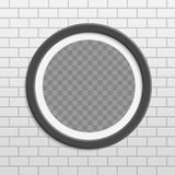 Cadre rond de photo sur le mur de briques illustration de vecteur