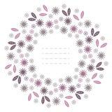 Cadre rond de ressort avec des feuilles et des fleurs d'isolement sur le CCB blanc Photographie stock libre de droits