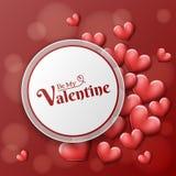 Cadre rond de Valentine avec les coeurs rouges Image libre de droits
