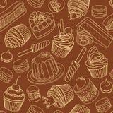 Cadre rond de vecteur avec la variété de desserts assortis Photos stock