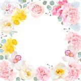 Cadre rond de vecteur floral Carte blanche d'invitation de centre et de fleurs Image stock