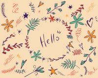Cadre rond de vecteur Guirlande florale Éléments décoratifs pour la conception Vecteur, clipart (images graphiques), tiré par la  illustration stock
