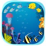 Cadre rond de vie marine avec des poissons, des méduses et le corail Photographie stock libre de droits