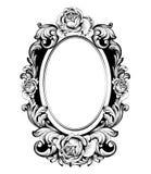 Cadre rond de vintage avec le vecteur rose de décor de fleurs Accessoire de miroir ornementé par antiquité Décorations d'Intricat illustration libre de droits