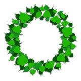 Cadre rond des feuilles vertes style de coupe de papier Vecteur illustration stock