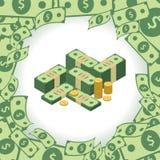 Cadre rond fait de dollars Pile d'argent Élément pour votre présentation d'affaires Photo stock