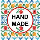 Cadre rond fait main au-dessus d'un modèle croisé coloré de point illustration libre de droits
