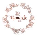 Cadre rond fleuri tiré par la main dans le style ethnique de mehndi L'inscription Namaste est une salutation dans indou illustration de vecteur