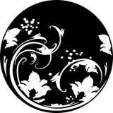 Cadre rond floral dans le style de pochoir avec le modèle décoratif canette illustration libre de droits