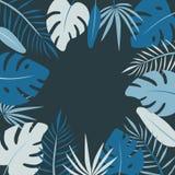Cadre rond floral de vecteur de paume de feuille dans le style plat illustration stock