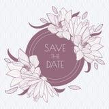 Cadre rond floral et modèle sans couture de feuille CCB de vintage de vecteur Photo libre de droits