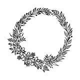 Cadre rond floral fin de vecteur Élément décoratif pour des invitations et des cartes Élément de frontière Illustration d'encre d Photo libre de droits