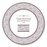 Cadre rond 419 Grey Leaf Red Flower de vintage rétro Photographie stock libre de droits