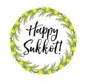 Cadre rond heureux de Sukkot des herbes Calibre juif de huttes de vacances pour la carte de voeux illustration libre de droits