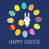 Cadre rond mignon d'oeufs de lapin et de poulet Joyeuses Pâques Conception plate Image stock