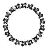 Cadre rond noir et blanc avec des silhouettes de fleurs Images stock