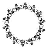 Cadre rond noir et blanc avec des silhouettes de fleurs Photographie stock libre de droits