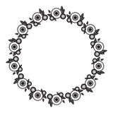 Cadre rond noir et blanc avec les silhouettes abstraites de fleur illustration libre de droits