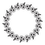 Cadre rond noir et blanc avec les silhouettes abstraites de fleur illustration stock