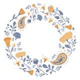 Cadre rond tiré par la main avec les fleurs et les feuilles mignonnes Images stock