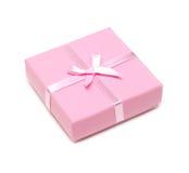 Cadre rose de cadeau avec la proue Photos libres de droits