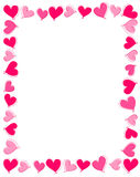 Cadre rose de coeurs Photographie stock libre de droits