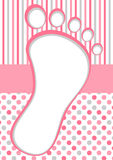Cadre rose de pied de bébé avec des points et des rayures de polka Image stock