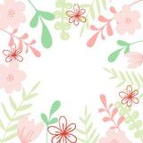 Cadre rose de vecteur avec la fleur et les feuilles Illustration pour épouser la carte d'invitation, copie illustration libre de droits