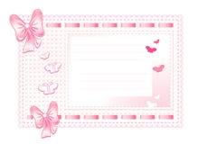 Cadre rose fait de tissu avec des proues Photographie stock libre de droits