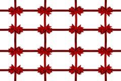Cadre rouge décoratif d'arc de satin Photo stock