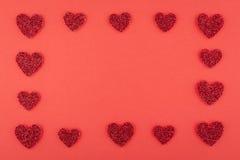 Cadre rouge d'amour de rangée Photo stock